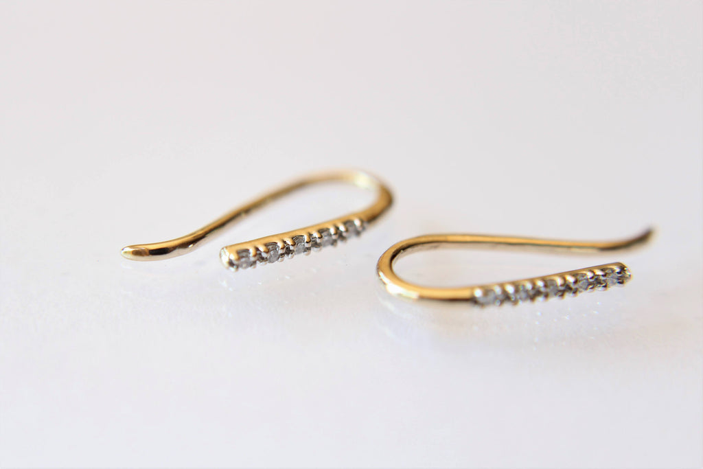 Diamond Line Earrings, Bar Earrings, Solid Gold Bar Earrings, Diamond Earrings, Line Earrings, Modern Chic, Dash Studs, Simple Bold Earring