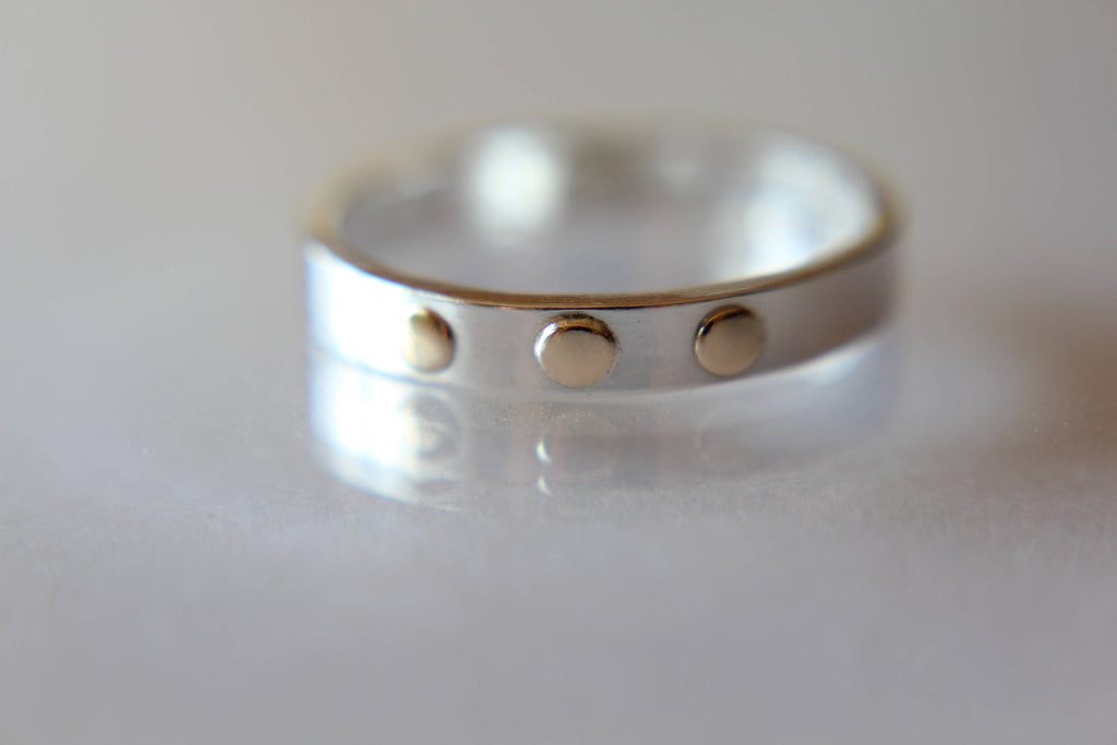 Modern Silver Band, Three Gold Dots, Simple Gold And Silver Ring, Modern Jewelry, Boho, Unique Jewelry, Everyday, Stacking Band, Solid Gold