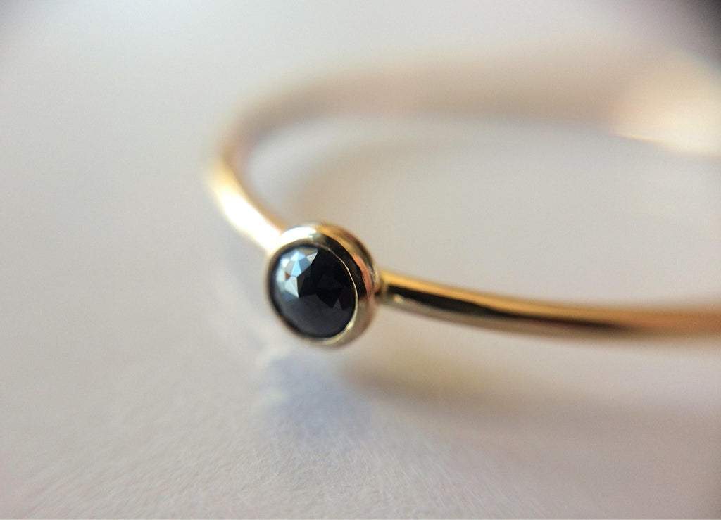 Black Diamond Ring, Genuine Diamond Ring, Black Diamond, Slim Ring, Minimalist Ring, Gift, Gemstone Ring, Tiny Diamond Ring, Diamond Ring