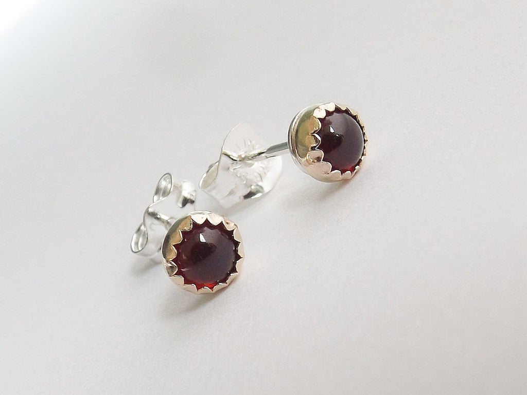 Garnet Earrings,Gold and Silver Earrings,Garnet Stud Earrings,Mixed Metal Earrings,Post Earrings,Stud,Modern,Simple,Everyday,Red,Unique,Gift