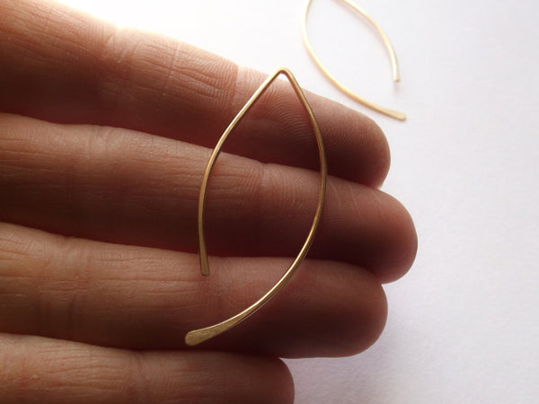 Leaf Hoop Earrings, Post Earrings, Hoop Earrings, Hammered Earrings, Fall Earrings, Gold Earrings, Modern Jewelry, Minimalist, Modern, Leaf