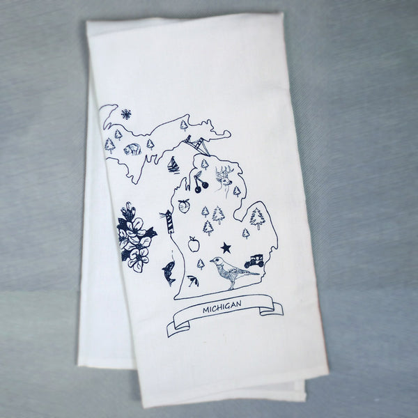 Organic Cotton Tea Towel - Pure Michigan Illustration