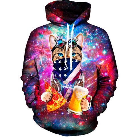 USA Rave Cat Womens Hoodie