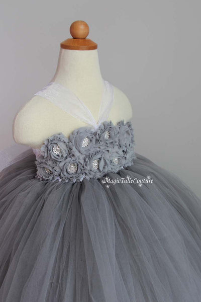 Grey Flower Girl Tutu Dress for Weddings and Birthday Photoshoot, Toddler Tutu Dress, Magictullecouture