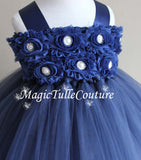 Navy Blue Flower Girl Tutu Dress for Weddings and Birthday Photoshoot, Toddler Tutu Dress, Magictullecouture