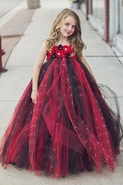 Black and Red Flower Girl Dress-Glitter Tulle Dress Wedding Dress Toddler Dress
