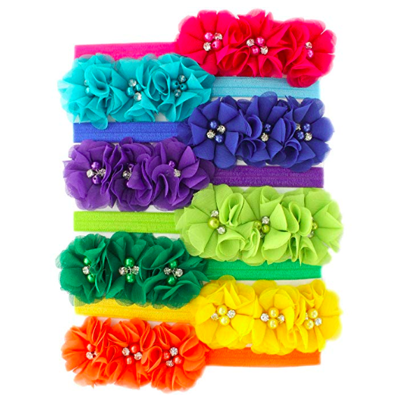 27 Colors, Buy 2 Get 1 Free, Floral Headband Head Wrap With Pearl For Flower Girls and Newborn Girls Photography