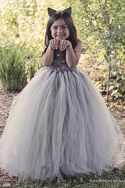 Grey Flower Girl Dress-3 rows flowers- Tulle Dress Wedding Dress Toddler Dress