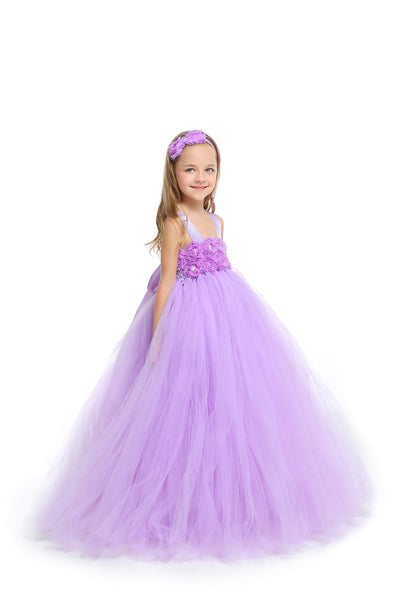 MagicTulleCouture Lavender/Lilac Flower Girl Tutu Dress with Matching Headpiece and Slip
