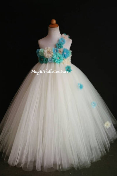 Blue Teal Mint-Ocean Beach Wedding Flower Girl Dress-Color can be customized- Tulle Dress Wedding Dress Toddler Dress