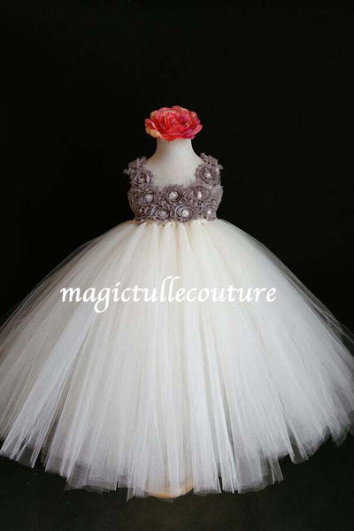 Ivory and Grey Flower Girl Tutu Dress for Weddings and Birthday Photoshoot, Toddler Tutu Dress, Magictullecouture