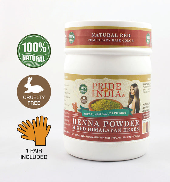 Herbal Henna Hair Color Powder w/ Gloves - Natural Red, Half Pound (8oz - 227gm) Jar - Pride Of India