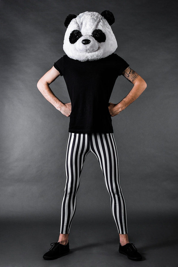 Man posing in Kapow Meggings Black and white striped men's leggings