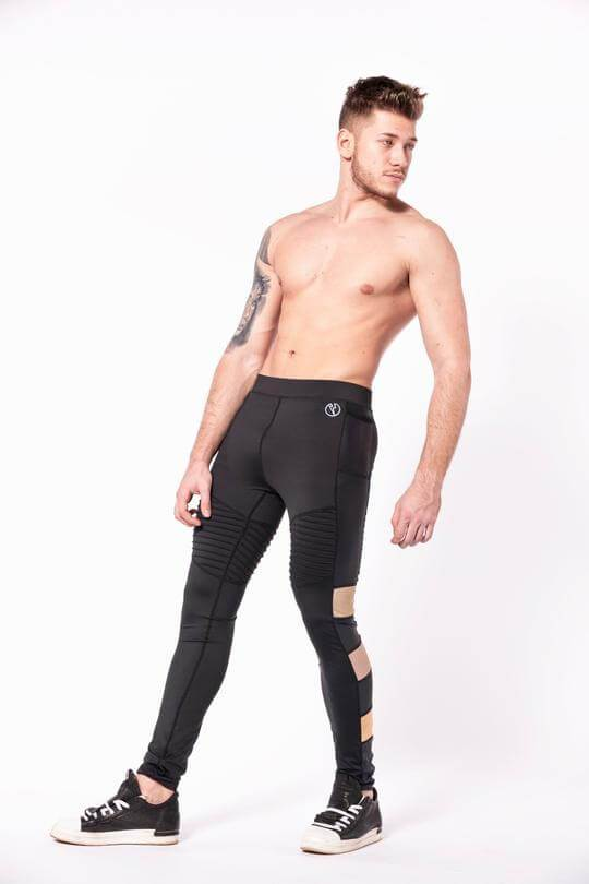 Bronze Warrior mens leggings shirtless side three quarter