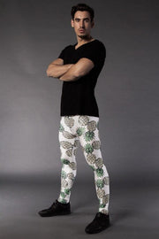 Man posing in Kapow Meggings pineapple on white men's leggings