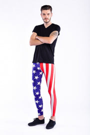 Man posing in Kapow Meggings USA flag blue white and red men's leggings