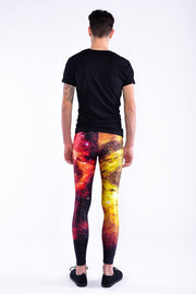 Man posing in Kapow Meggings multicoloured cosmos print men's leggings from behind