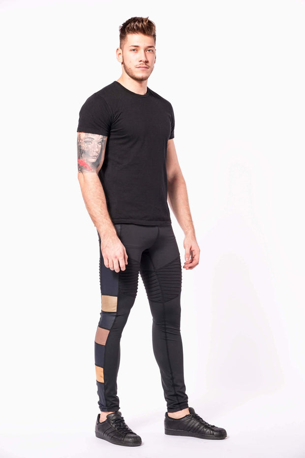 Bronze warrior mens leggings front three quarter