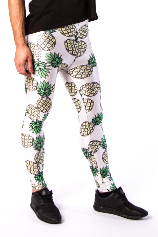 Close up of Kapow Meggings pineapple on white men's leggings