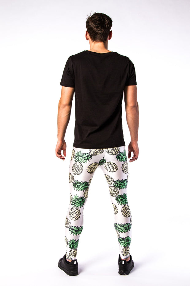 Man posing in Kapow Meggings pineapple on white men's leggings from behind
