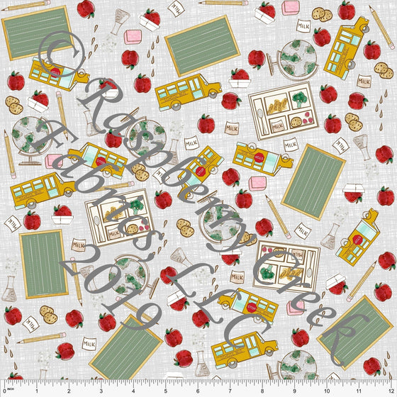 Grey Mustard Sage and Red Tossed Back to School 4 Way Stretch Jersey Knit Fabric, Back to School by Bri Powell for Club Fabrics