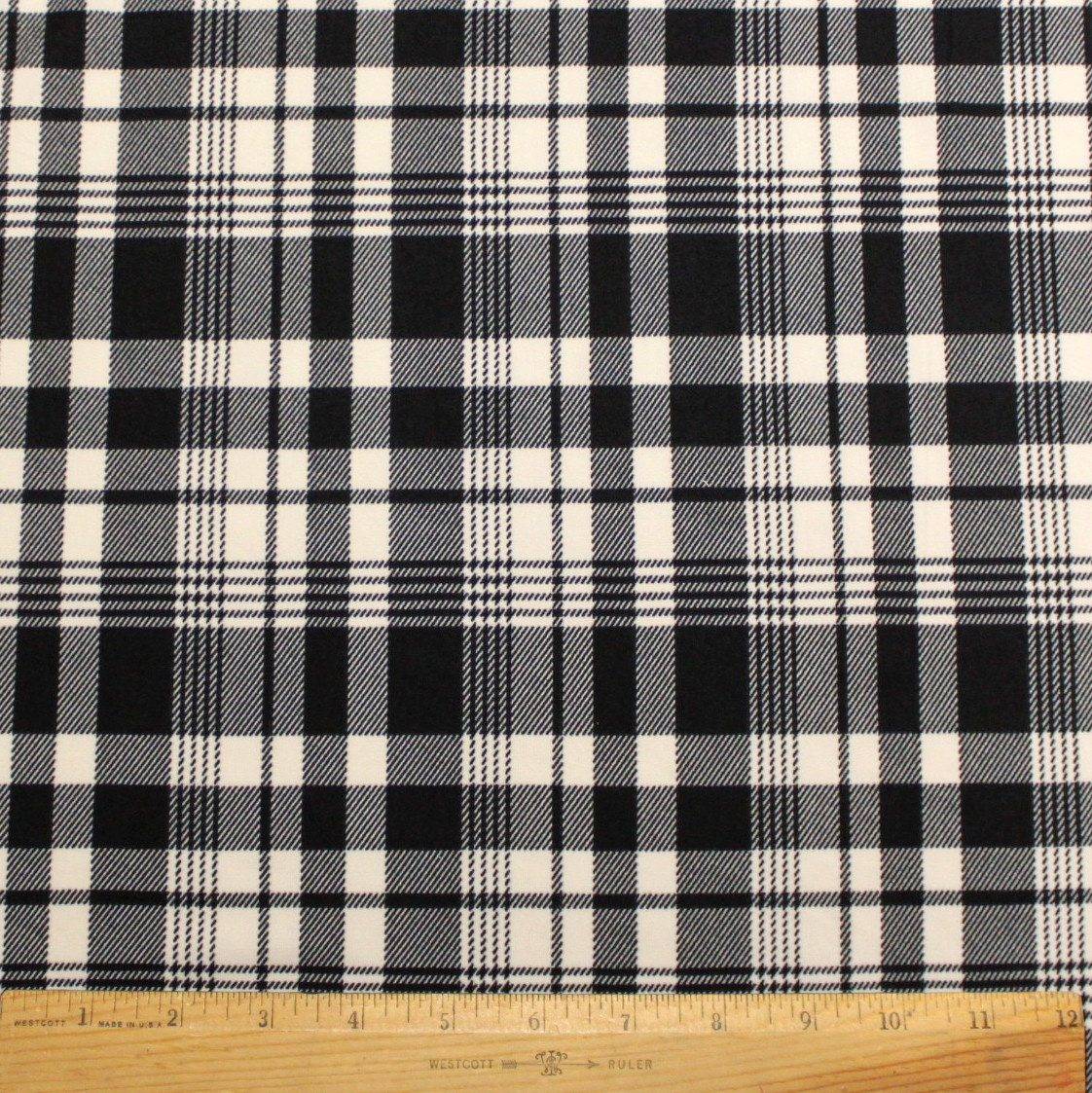 Black and Cream Plaid Double Brushed Poly Spandex Knit, 1 yard - Raspberry Creek Fabrics