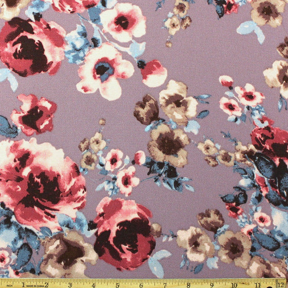 Mauve Pink Blue and Beige Bubble Crepe, 1 yard