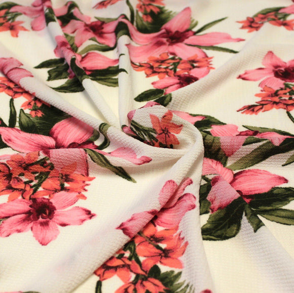 Cream Magenta Coral and Green Tropical Floral Bubble Crepe, 1 yard - Raspberry Creek Fabrics