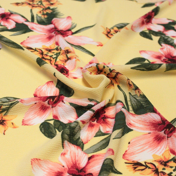 Yellow Pink Fuchsia and Green Tropical Floral Bubble Crepe, 1 yard
