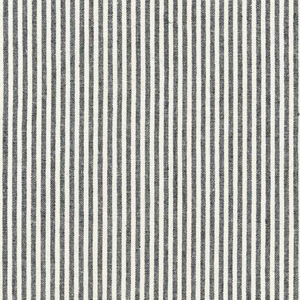 Black and Ivory Thin Stripe Yarn Dyed Linen, Essex Yarn Dyed Classics Collection By Robert Kaufman, 1 Yard - Raspberry Creek Fabrics