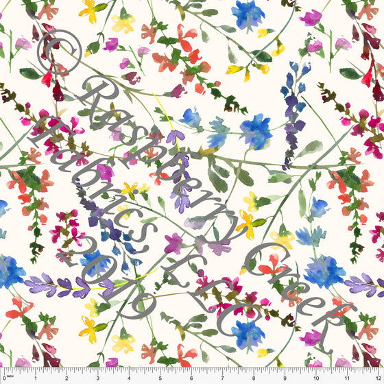 Off White Fuchsia Blue Green and Yellow Wildflower Stretch Crepe, CLUB Fabrics, 1 Yard