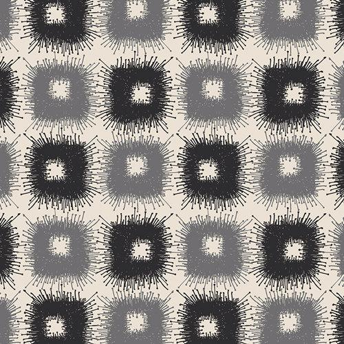 Black Grey and Cream Geometric Square Voile, CLETA by the Art Gallery Designers, Canopy Shadows, 1 Yard Voile - Raspberry Creek Fabrics