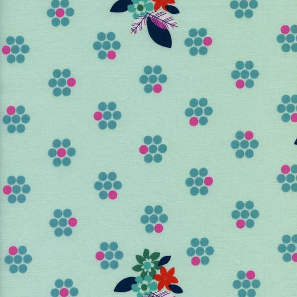 Aqua Blue Pink and Orange Floral Dot Cotton Fabric, Fruit Dots Collection by Melody Miller for Cotton and Steel, 1 Yard - Raspberry Creek Fabrics
