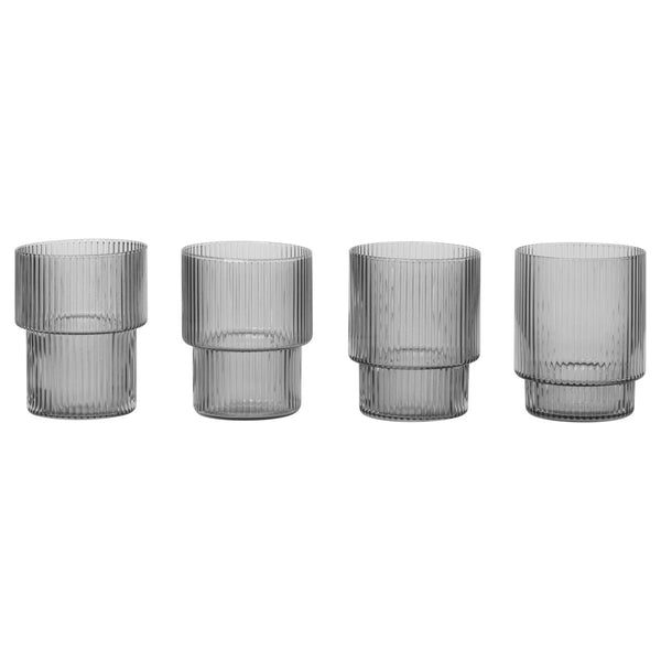 Ripple Glasses Smoked Grey Set of 4 - indish-design-shop-2