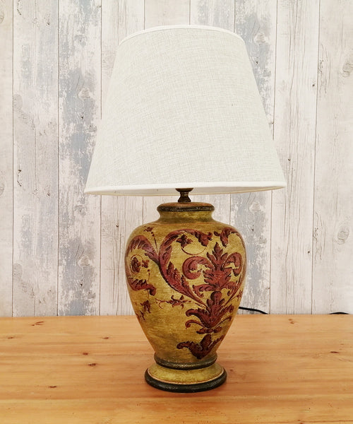 Vintage ceramic Chinoiserie table lamp with shade