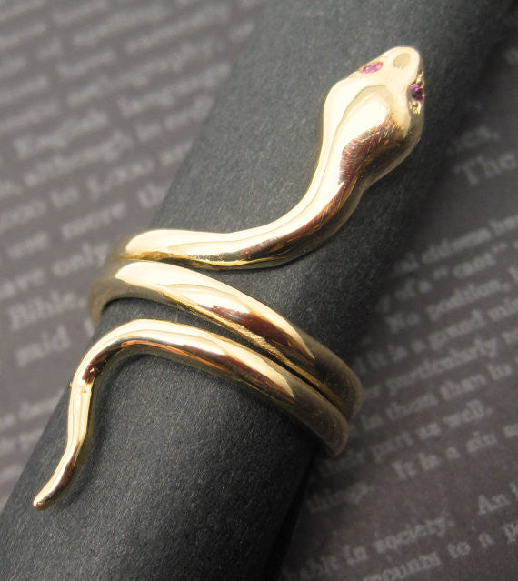 Ruby Eyes Coiled Snake 14K Solid Gold Ring