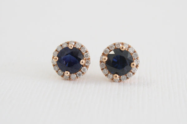 Cornflower Blue Sapphire Diamond Halo Earrings in 14K Rose Gold