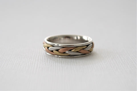 Handmade Tri Color Braided Men's Wedding Band in 14K Solid Gold