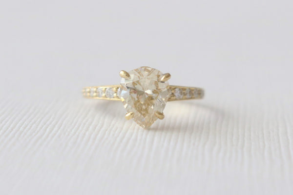 Certified Pear Cut Diamond Pave' Milgrained Engagement Ring in 18K Yellow Gold