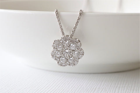Cluster Diamond Necklace in 14K White Gold