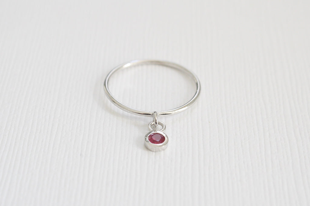 July Birthstone Ruby Dangle Ring in 14K Solid Gold