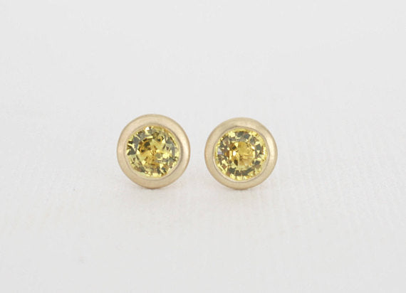 Yellow Sapphire Bezel Stud Earrings in 14K Gold