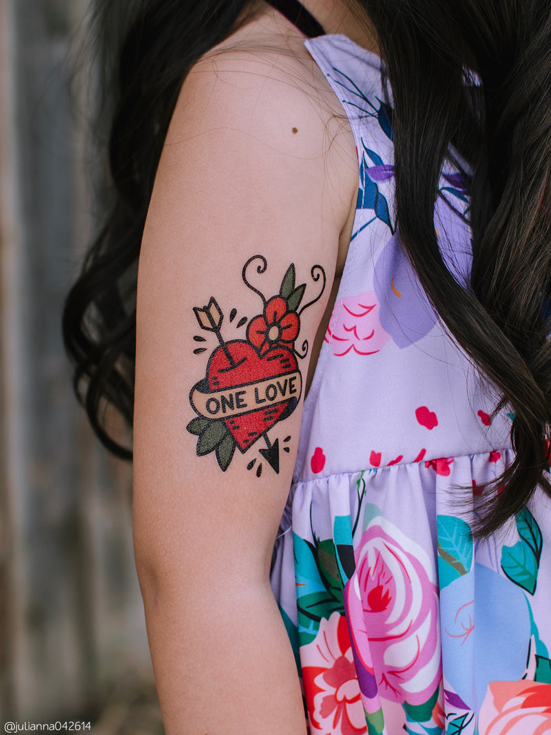"High quality temporary tattoos with heart with arrow and ribbon with ""One love"" lettering. Hand drawn in classic tattoo style, add some fun to your Wedding, Bachelorette party or any other day."