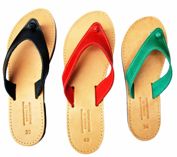 Black, red and green flip flop sandals