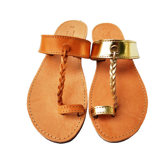 Braided toe ring Areti stylish sandals