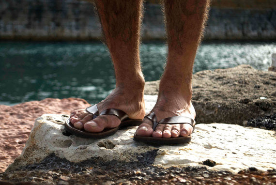 Men leather sandals - flip flops