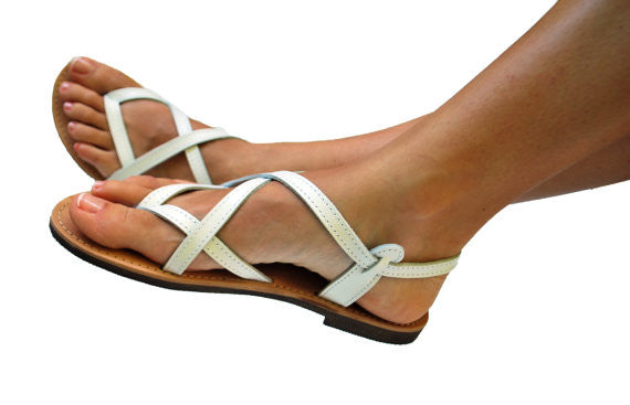 White strappy sandals side model view