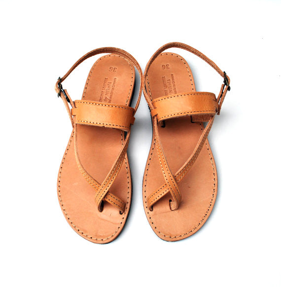 Brown toe-wrapper sandal
