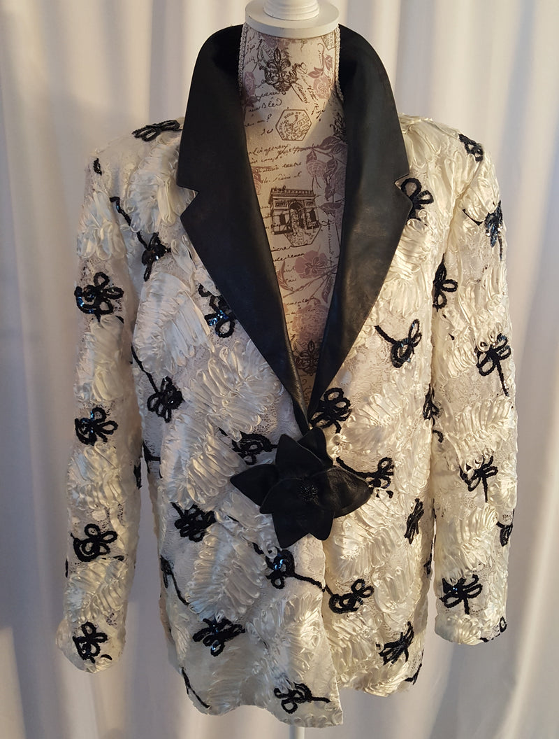 White and Black Lace Jacket size XL
