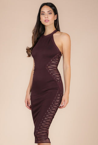 Designer inexpensive online boutique for women - Naughty Grl Illusion Style Dress - Dark Oak
